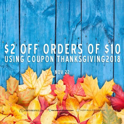 Happy Thanksgiving!  35% off at DSP through November 26 AND more on Thanksgiving Day (22nd)